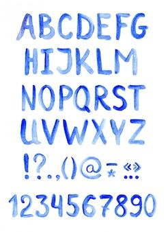Carattere alfabeto blu, lettere, numeri e punteggiatura