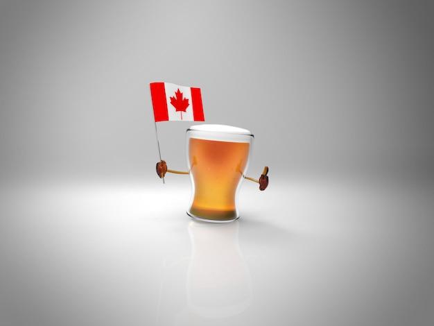 Carattere della birra illustrato divertimento che tiene la bandiera del canada