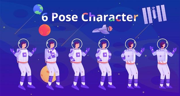 Carattere di posa dell'astronauta sulla galassia