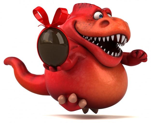 Carattere divertente del dinosauro rosso 3d che tiene un uovo di cioccolato di pasqua