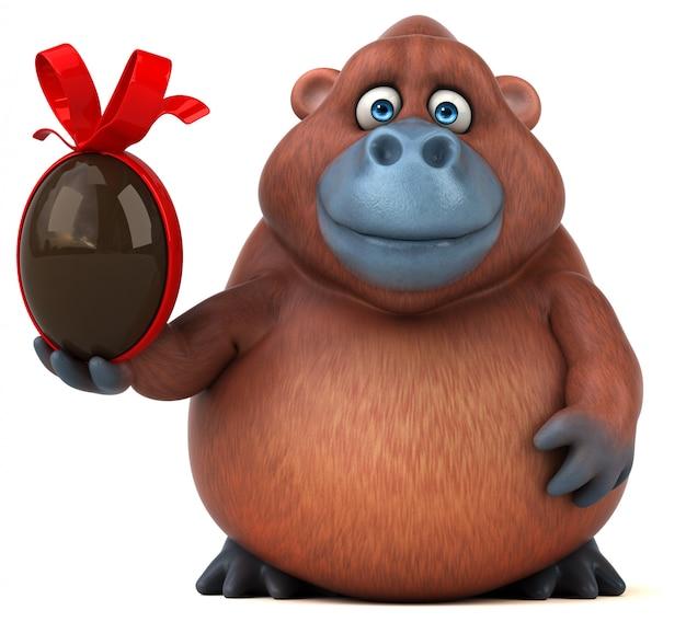 Carattere divertente della gorilla 3d che tiene un uovo di cioccolato di pasqua