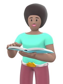 Carattere giovane ragazza africana fan della letteratura leggendo un libro. persone divertenti dei cartoni animati. rendering 3d.