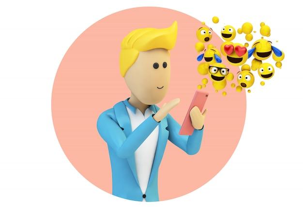 Carattere maschio dell'uomo d'affari del fumetto che invia gli emoji