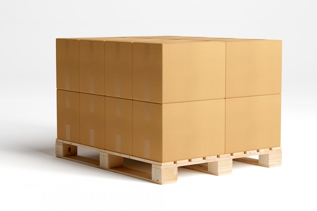 Carboxes isolati su un pallet di legno