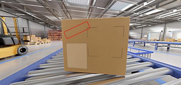 Cardbox in un magazzino - rendering 3d