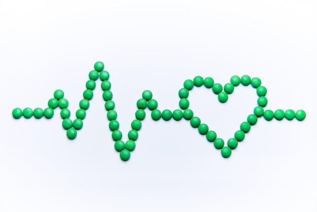 Cardiogramma con cuore da pillole verdi su sfondo bianco.