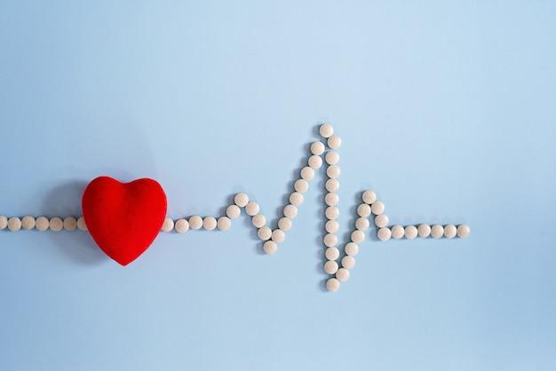Cardiogramma realizzato con pillole mediche e cuore rosso giocattolo