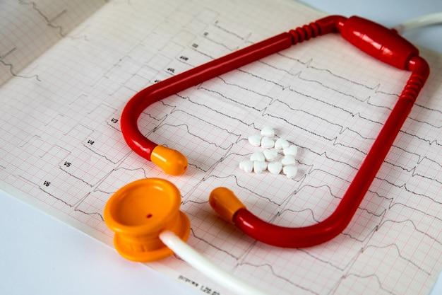 Cardiologia. macro di grafico ecg e pillole cardio. pillole come un cuore