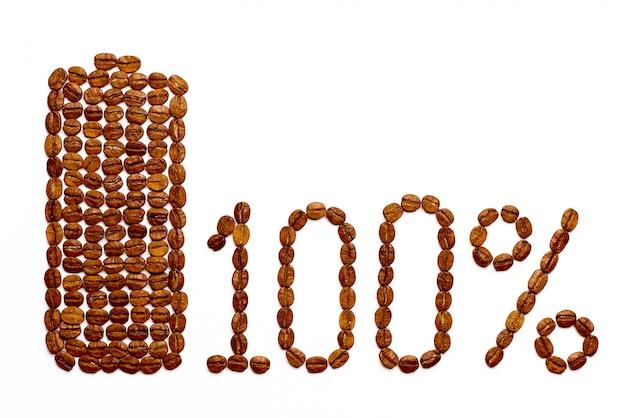 Carica della batteria 100% dei chicchi di caffè su bianco.