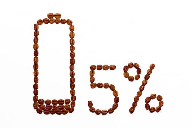 Carica della batteria 5% dei chicchi di caffè su bianco.