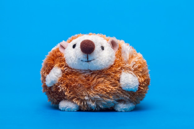 Carino piccolo peluche riccio giocattolo su uno sfondo blu.