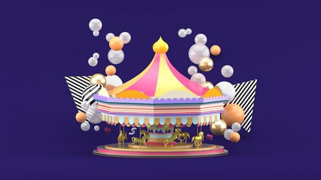 Carosello tra palline colorate su viola. rendering 3d