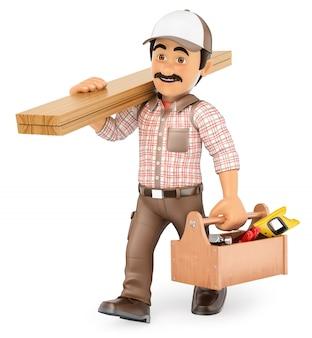 Carpentiere 3d che cammina con il bordo di legno e la cassetta portautensili