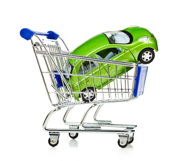 Carrello della spesa con auto