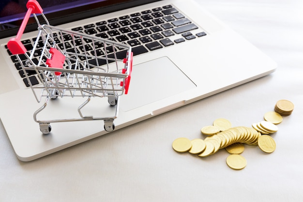 Carrello della spesa con moneta d'oro e notebook.