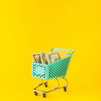 Carrello della spesa con soldi