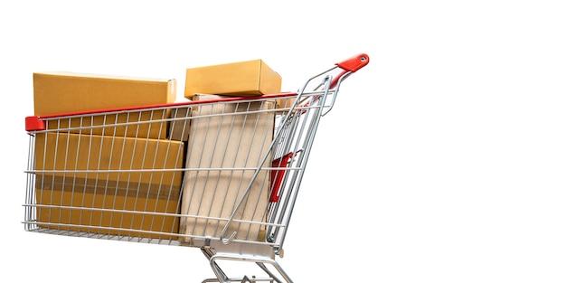 Carrello della spesa pieno di scatole per lo shopping
