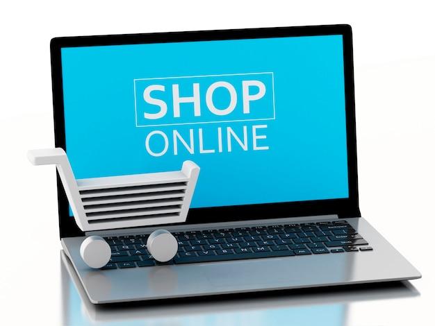 Carrello di acquisto 3d sul computer portatile. concetto di e-commerce