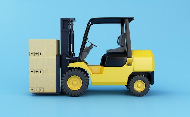 Carrello elevatore a forcale con scatole di cartone su sfondo azzurro. illustrazione di rendering 3d.