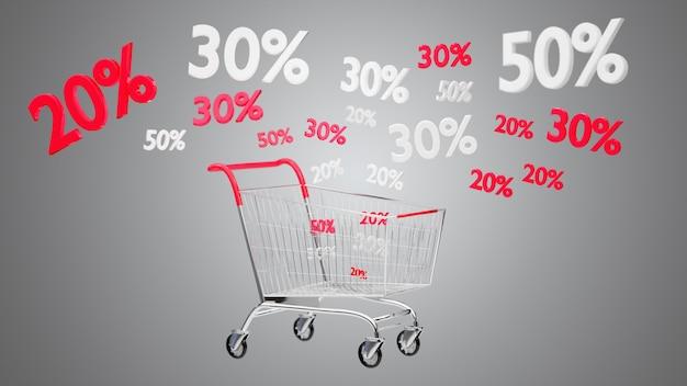 Carrello rosso e bianco e sconto di vendite - 3d rendono