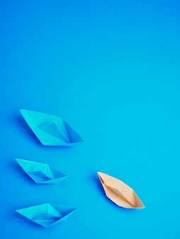 Carta barca di origami concetto di leadership