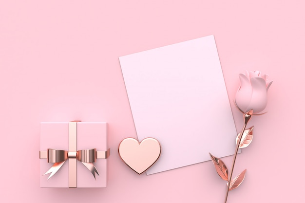 Carta bianca mock up regalo di cuore e rosa rosa