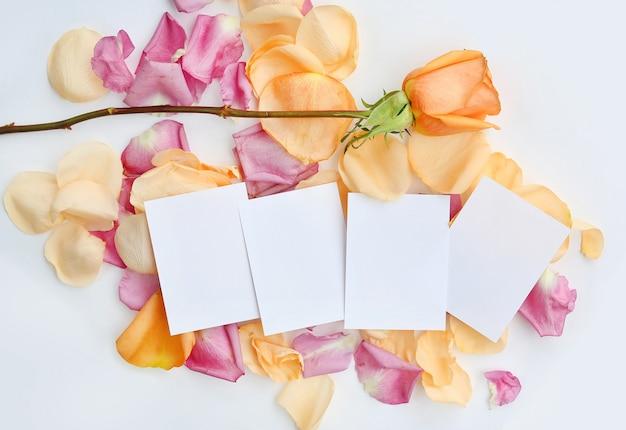 Carta da lettere vuota con fiore rosa e petali su sfondo bianco.