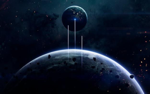Carta da parati spaziale di fantascienza, pianeti incredibilmente belli, galassie, bellezza oscura e fredda dell'universo infinito.