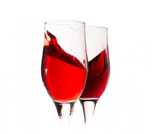 Carta dei vini set di calice con spruzzi di vino rosso