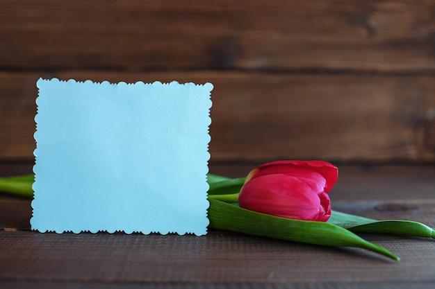 Carta di benvenuto e tulipano su uno sfondo di legno scuro.