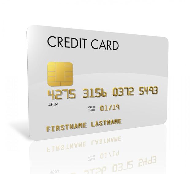 Carta di credito bianca isolata su bianco con il percorso di ritaglio