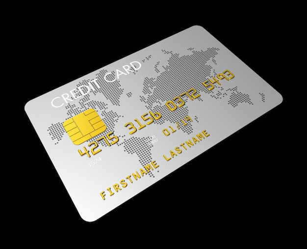 Carta di credito d'argento isolata sul nero con il percorso di ritaglio