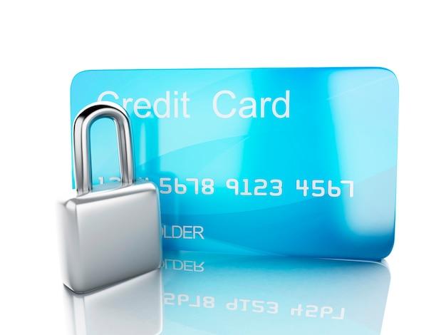 Carta di credito e concetto bancario di lock.safe su fondo bianco
