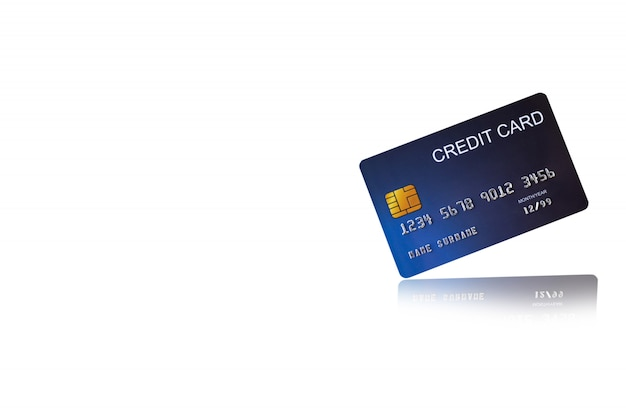 Carta di credito su sfondo bianco e-shopping marketing