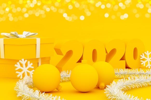 Carta gialla di buon natale del buon anno con le palle e i fiocchi di neve - illustrazione 3d
