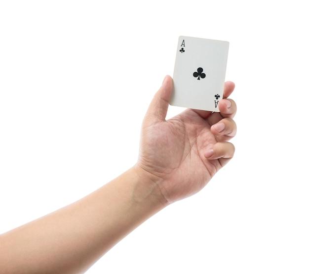 Carte da gioco a disposizione isolate su fondo bianco