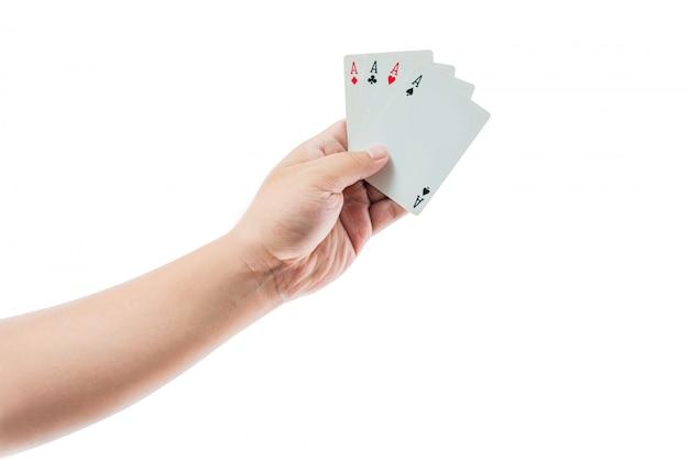 Carte da gioco a disposizione isolato su fondo bianco