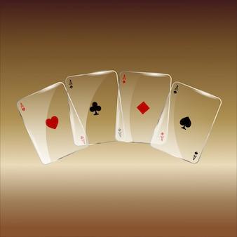 Carte da gioco astratte su dorato