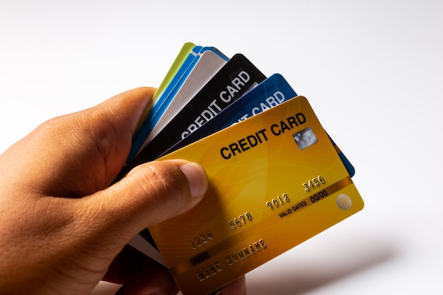 Carte di credito su bianco