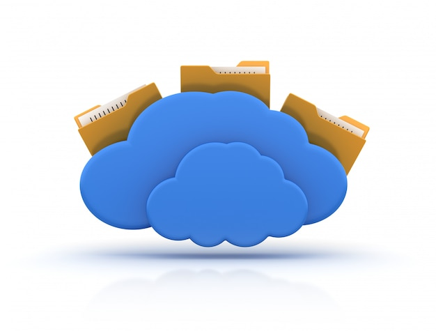 Cartella del computer con cloud computing