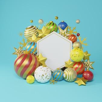 Cartello bianco esagonale con ornamenti di natale e capodanno. palla fantasia oro