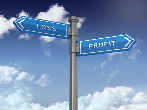 Cartello direzionale con parole di profitto perdita su cielo blu