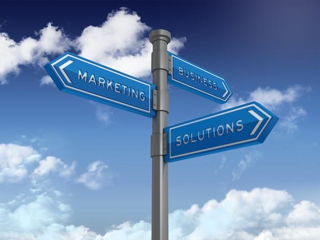 Cartello direzionale con soluzioni business marketing parole su cielo blu