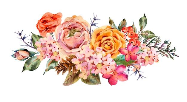 Cartolina d'auguri dell'acquerello vintage con rose, ortensie, pigne, bacche rosse e fiori di campo
