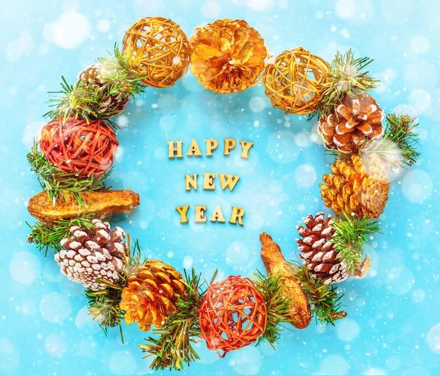 Cartolina d'auguri di felice anno nuovo vista piana, vista dall'alto