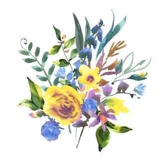 Cartolina d'auguri floreale dell'acquerello dell'annata con fiori di campo