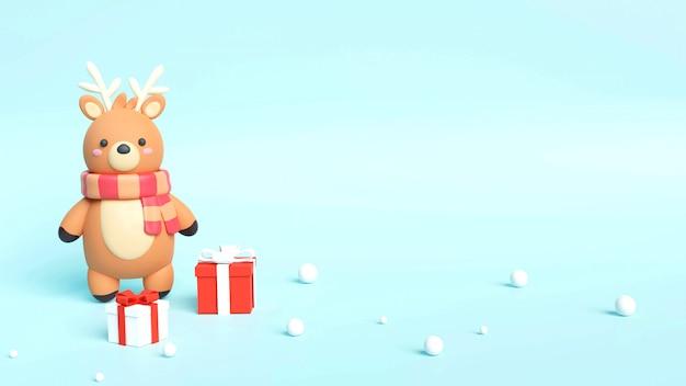 Cartolina di natale con renne e scatole regalo