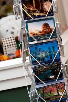 Cartoline postali visualizzate a boston, massachusetts, usa