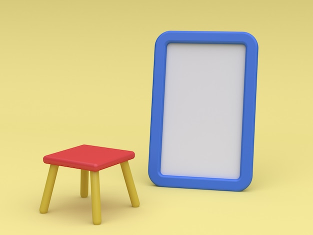 Cartone animato lavagna e sedia 3d rendering concetto di bambino