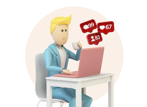 Cartone animato maschile utilizzando il computer con le notifiche dei social media